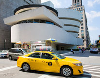 A Taxi in front Guggenheim Art Museum NYC Royalty Free Stock Photos