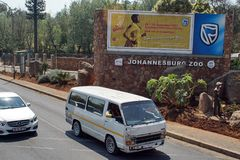 Taxi in front of the Johannesburg Zoo royalty free stock photo