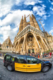 Taxi in front Sagrada Familia, Barcelona, Spain Royalty Free Stock Photo