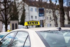 Taxi, German taxi, at the taxi rank, city. Roof Royalty Free Stock Photography