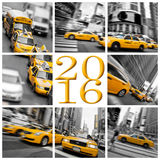 2016 taxi gialli nella cartolina d'auguri di New York Fotografia Stock