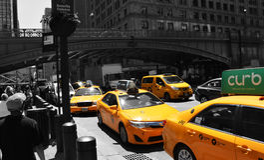 Taxi gialli, New York Immagine Stock Libera da Diritti