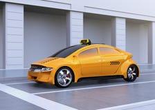 Taxi giallo fermato alla striscia d'arresto illustrazione vettoriale