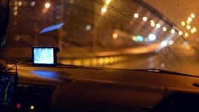 Taxi gps-Fahrernacht stock video