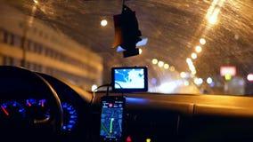 Taxi gps-Fahrernacht stock video footage