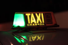 Taxi in Granada, Spain stock photography