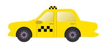 Taxi gul bil med taxiöverkanttecknet royaltyfri illustrationer