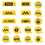 Taxi header signs. Taxi icon set. Call taxi pointer and logos collection. Royalty Free Stock Photos