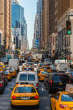 Taxi in heavy traffic on the streets of New York Stock Photos