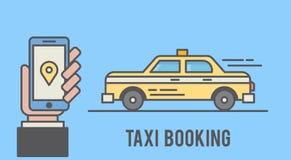 Taxi het boeken met mobiele telefooninterface Vlakke lijn gestileerde illustratie Stock Afbeeldingen