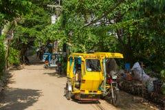 Taxi in het Boracay-dorp, Filippijnen stock foto
