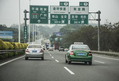 Taxi on highway, Shenzhen China Royalty Free Stock Images