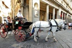 Taxi hippomobile en Italie Photographie stock libre de droits