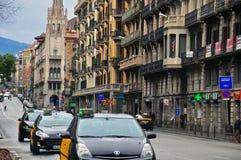 Taxi i Barcelona Royaltyfria Bilder