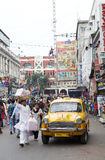 Taxi i Kolkata, Indien Arkivfoto