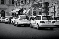 Taxi i Rome, Italien Fotografering för Bildbyråer