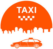 Taxi icon with city Royalty Free Stock Images