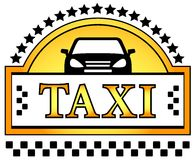 Taxi icon with star and car silhouette Stock Images
