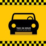 Taxi Icon. Taxi Service. 24 Hour Serrvice. Black Taxi Car. Yello. W Background. For web design and application interface, also useful for infographics. Vector Royalty Free Stock Images