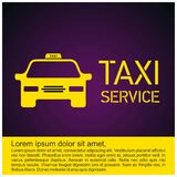 Taxi Icon. Taxi Service. 24 Hour Serrvice. Yellow Taxi Car. Purp. Le Background. For web design and application interface, also useful for infographics. Vector Royalty Free Stock Photography