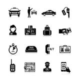 Taxi Icons Black Stock Images
