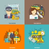 Taxi icons flat set Stock Photos