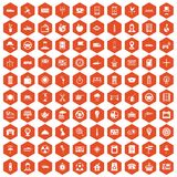 100 taxi icons hexagon orange. 100 taxi icons set in orange hexagon isolated vector illustration Stock Photography