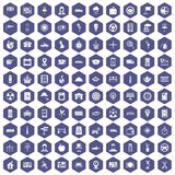 100 taxi icons hexagon purple. 100 taxi icons set in purple hexagon isolated vector illustration Stock Photography
