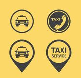 Taxi icons and Pointers. Black icons flat style Stock Images