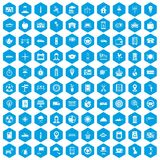 100 taxi icons set blue. 100 taxi icons set in blue hexagon isolated vector illustration Vector Illustration