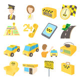 Taxi icons set, cartoon style Royalty Free Stock Images