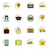Taxi icons set, flat style Royalty Free Stock Photo