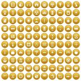 100 taxi icons set gold. 100 taxi icons set in gold circle isolated on white vector illustration vector illustration