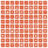 100 taxi icons set grunge orange. 100 taxi icons set in grunge style orange color isolated on white background vector illustration Royalty Free Stock Photography