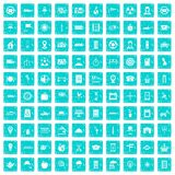 100 taxi icons set grunge blue. 100 taxi icons set in grunge style blue color isolated on white background vector illustration Royalty Free Stock Photos