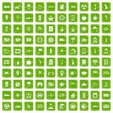 100 taxi icons set grunge green Stock Photography