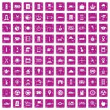 100 taxi icons set grunge pink. 100 taxi icons set in grunge style pink color isolated on white background vector illustration Royalty Free Stock Photography