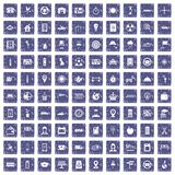 100 taxi icons set grunge sapphire. 100 taxi icons set in grunge style sapphire color isolated on white background vector illustration Royalty Free Stock Photography