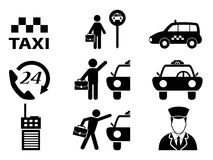 Taxi icons set. Isolated black taxi icons set from white background Royalty Free Stock Photo