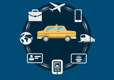 Taxi illustration icon in circle against blue background with travel and technology business icons Stock Photography