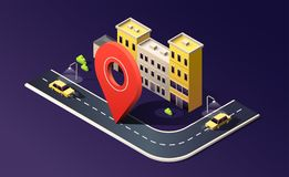 Isometric city with building, street, road, car and location pin on dark purple. 3D vector illustration. vector illustration