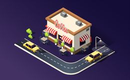 Isometric coffeehouse with road, traffic, taxi cars and location pin on dark purple. 3D vector illustration. stock illustration