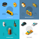 Taxi isometric 4 flat icons square Stock Photography