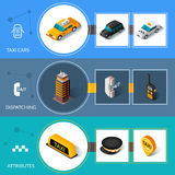 Taxi isometric flat informative banners set. Taxi car attributes and 24 hours dispatching service informative isometric pictograms banners set abstract  vector Royalty Free Stock Image