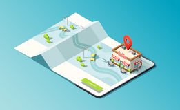 Isometric phone with coffeehouse, map, road and taxi car. 3D vector illustration. stock illustration