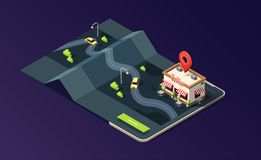 Isometric phone with coffeehouse, map, road and taxi car on dark purple. 3D vector illustration. stock illustration