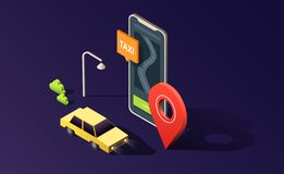 Isometric phone with map, road, taxi car and location pin on dark purple. 3D vector illustration. stock illustration