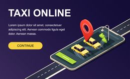 Isometric phone with map, road, taxi car and location pin on dark purple. Landing page template. 3D vector illustration. stock illustration