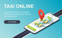 Isometric phone with map, road, taxi car and location pin. Landing page template. 3D vector illustration. stock illustration