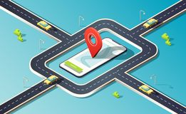 Isometric phone with map, road, traffic, cars and location pin. 3D vector illustration. stock illustration